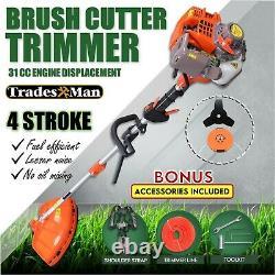 4 STROKE Whipper Snipper Straight Shaft Line Trimmer 31CC Pole Brush Cutter
