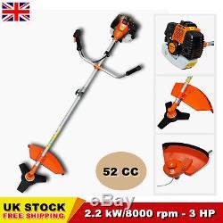 52CC Powerful Petrol Strimmer Garden Grass Brush Cutter Trimmer Orange 2.2KW 3HP