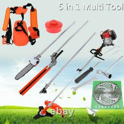 52cc 5 in 1 Hedge Trimmer Multi Tool Petrol Strimmer BrushCutter Garden Chainsaw