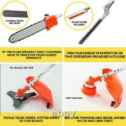 52cc Multi Function 5 in 1 Garden Tool Brush Cutter Grass Trimmer Chainsaw UK