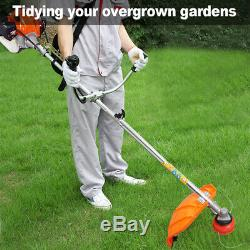52cc Petrol Garden Brush Cutter Grass Trimmer Powerful Cutter Orange 1.25KW UK