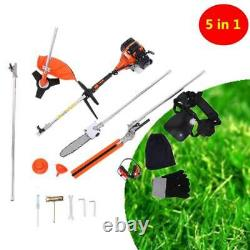 5 in 1 52cc Petrol Hedge Trimmer Chainsaw Brush Cutter Pole Saw Outdoor Tools HW