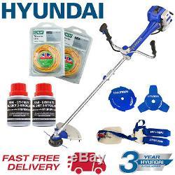 Hyundai Garden Trimmer Grass Strimmer Brushcutter Petrol Anti-Vibration + Extras