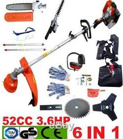 Multi Function Garden Tool 6 in1 Petrol Strimmer, Brush Cutter Chainsaw