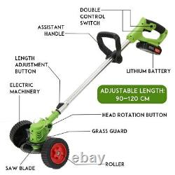 Powerful Cordless Double Wheel Electric Grass Trimmer 36v Lawn Mower Machine
