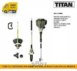 TITAN 3 in 1 EXTRA 25cc Petrol Multi Tool Strimmer Brush Cutter & Pruner