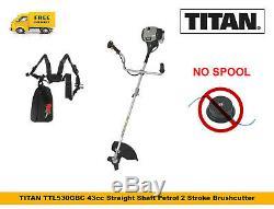 TITAN TTL530GBC Petrol Brushcutter 43cc Straight Shaft Petrol 2 Stroke