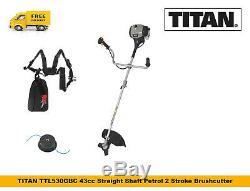 TITAN TTL530GBC Petrol Strimmer Brushcutter 43cc BullHorn Straight Shaft 2Stroke