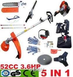 Trimmer 5 in 1 Petrol Strimmer Chainsaw Brushcutter Multi Tool 52cc Garden Hedge