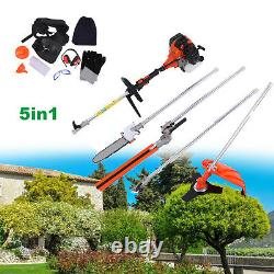 52cc 5in 1 Hedge Trimmer Multi Tool Petrol Strimmer Brush Cutter Garden Chainsaw