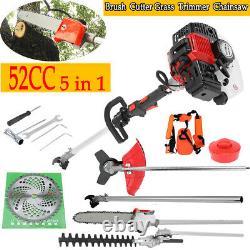 52cc Petrol Garden Multi Tool 5 En 1 Grass & Hedge Trimmer Strimmer Pole Saw