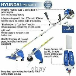 Hyundai Garden Trimmer Grass Strimmer Brushcutter Essence Anti-vibration 52cc
