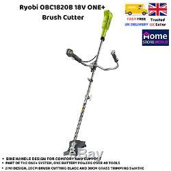 Ryobi Obc1820b One + 18v Sans Fil Débroussailleuse Avec Poignée De Vélo, Vert, Corps Seulement
