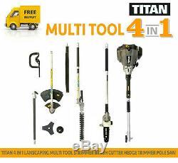 Titan Ttk587gdo 4in1 Multi Tool Tondeuse À Gazon Débroussailleuse Taille-haies Grade B